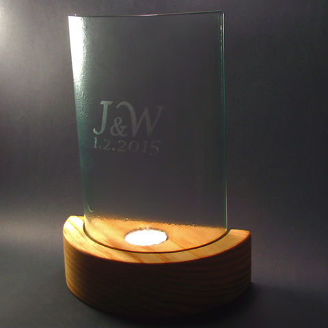 Bespoke 'hurricane candle-lamps' with etched initials / dates or photos - product images  of
