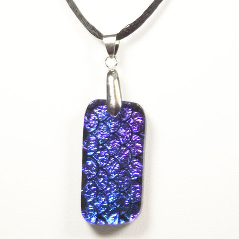 Fused-glass,deep,blue,/,purple,'fan',pattern,dichroic,pendant,inspired-glass, dichroic, glass, pendant