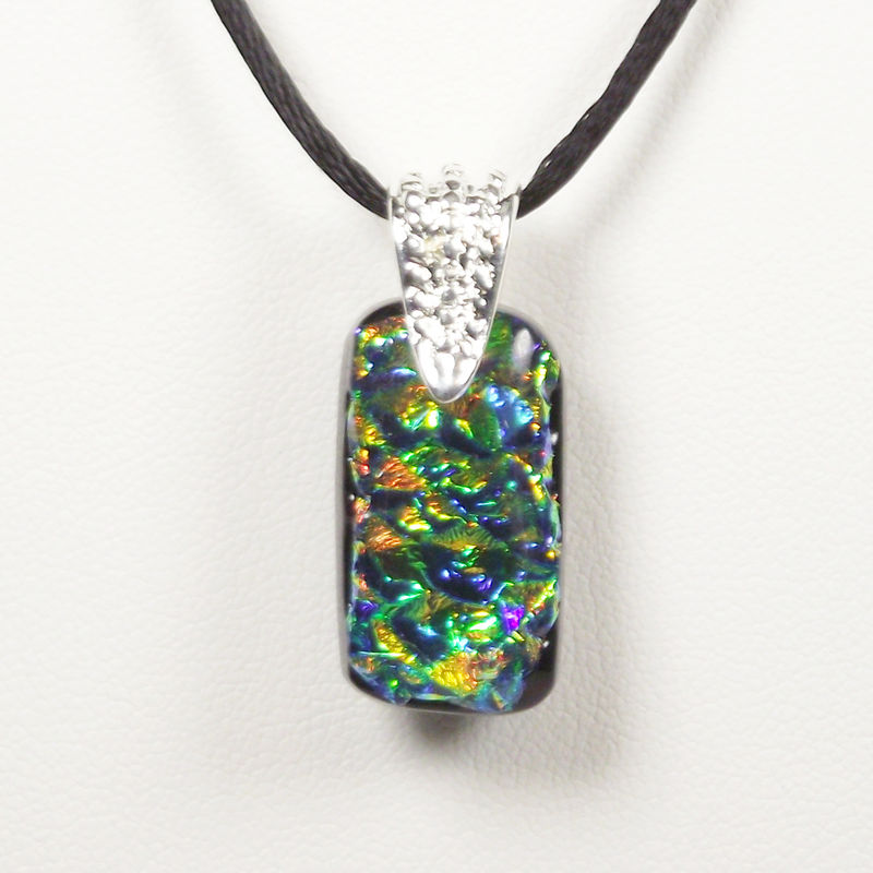 Fused-glass gold/blue/green 'opal' dichroic pendant - product image