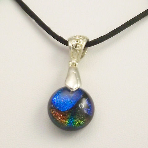 Fused-glass,small,round,'pebble',dichroic,pendant,inspired-glass, dichroic, glass, pendant