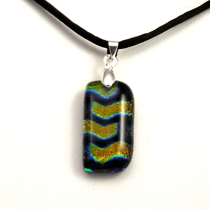 Fused-glass gold chevrons dichroic pendant - product image