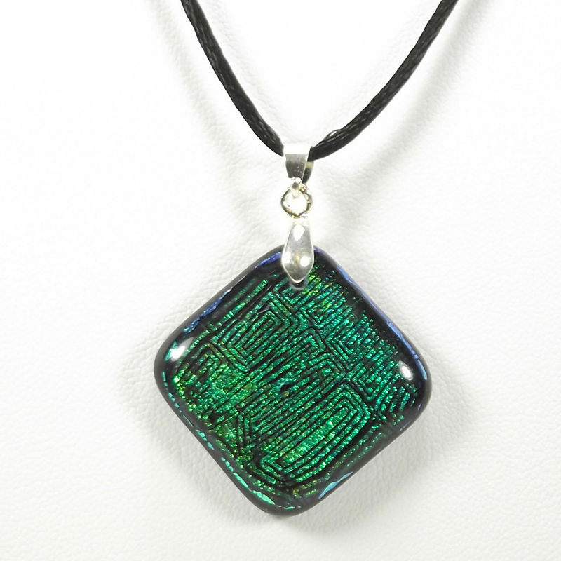 Fused-glass green 'maze' dichroic pendant - product image