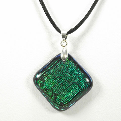 Fused-glass,green,'maze',dichroic,pendant,inspired-glass, dichroic, glass, pendant