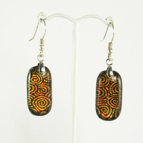 Orange,'spiral',fused,glass,dichroic,earrings,inspired-glass, dichroic jewellery, drop earrings, handmade in west cork, ireland