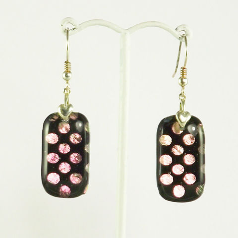 Pink,'polka-dots',fused,glass,dichroic,earrings,inspired-glass, dichroic jewellery, drop earrings, handmade in west cork, ireland
