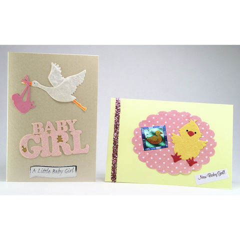 Two,handmade,'new,baby,girl',cards,inspired-glass, chris's cards, handmade cards, baby girl cards, greeting cards