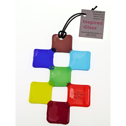 Rainbow Chakra 'Double-cross' fused-glass suncatcher - product images  of
