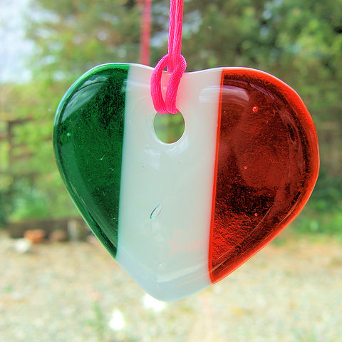Fused-glass,tricolour,heart,suncatcher,inspired-glass, stained-glass, small fused glass tricolour heart, suncatcher heart