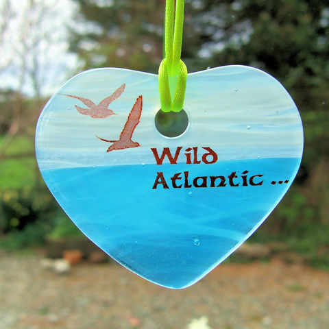 Fused-glass,Wild,Atlantic,...,heart,suncatcher,inspired-glass, stained-glass, small fused glass Wild Atlantic heart, suncatcher heart, west cork, wild atlantic way, seagulls