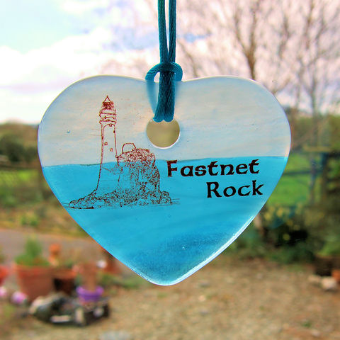 Fused-glass,Fastnet,Rock,heart,suncatcher,inspired-glass, stained-glass, small fused glass Fastnet Rock heart, suncatcher heart, west cork, fastnet rock