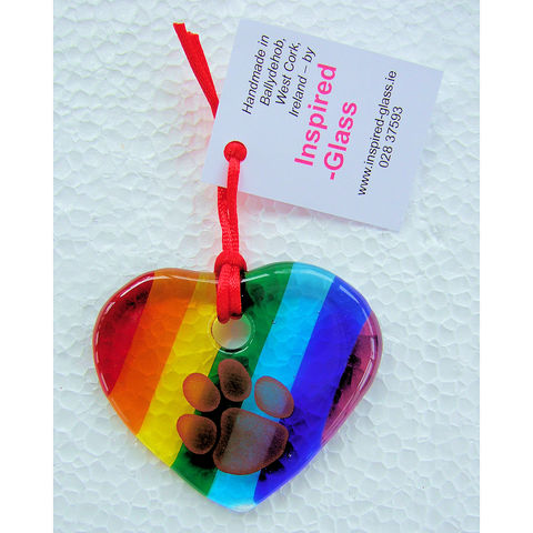 Fused-glass,WCAWG,Pawprint,heart,suncatcher,-,rainbow,inspired-glass, stained-glass, small fused glass pawprint WCAWG Rock heart, suncatcher heart, west cork, fastnet rock