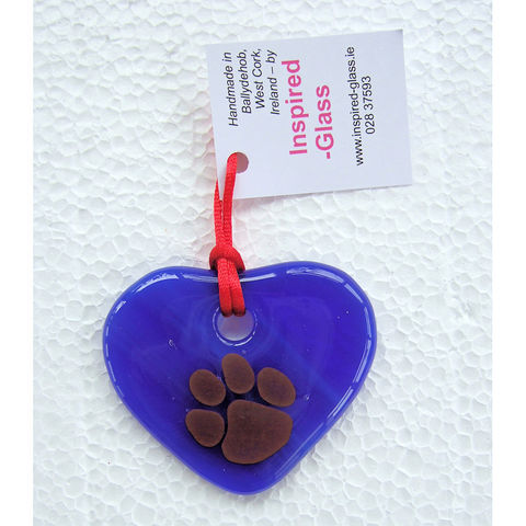 Fused-glass,WCAWG,Pawprint,heart,suncatcher,-,shades,of,blue,inspired-glass, stained-glass, small fused glass pawprint WCAWG Rock heart, suncatcher heart, west cork, fastnet rock