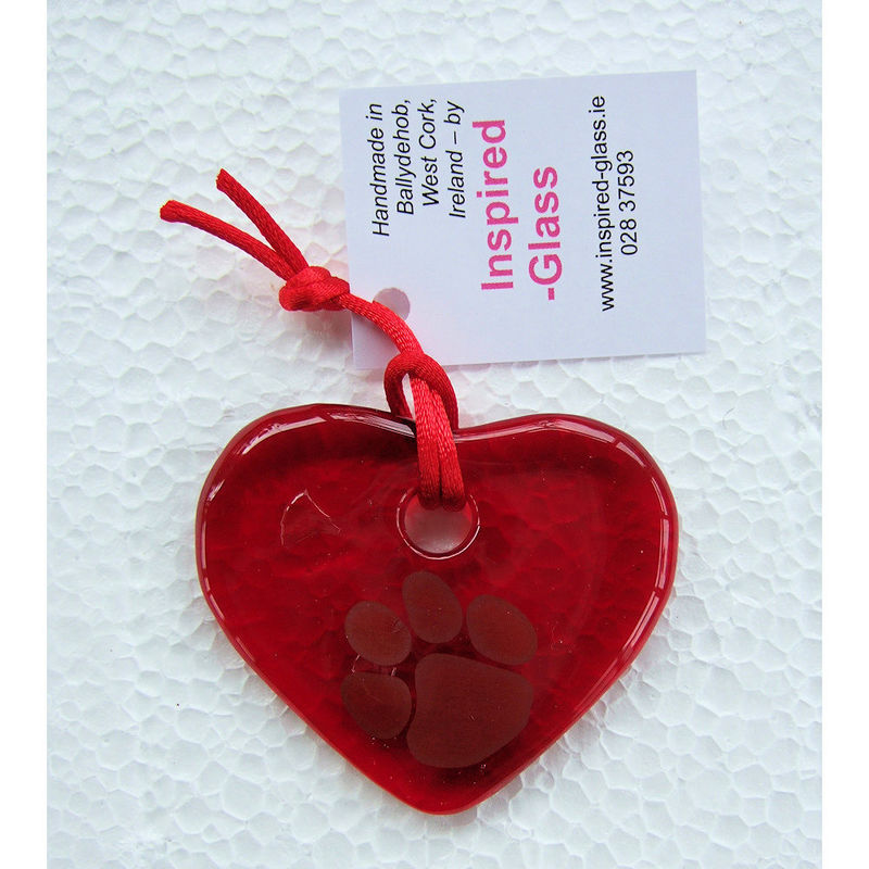 "Fused-glass WCAWG ""Pawprint"" heart suncatcher - red / green - product images  of"