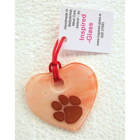 Fused-glass,WCAWG,Pawprint,heart,suncatcher,-,'opal',various,colours,inspired-glass, stained-glass, small fused glass pawprint WCAWG Rock heart, suncatcher heart, west cork,