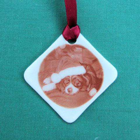 Bespoke fused-glass 'photo' sepia-tone decoration/keepsake - product images  of