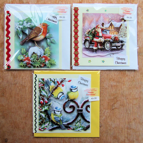 Handmade,'Classic',Christmas,cards,-,pack,of,three,by,Chris's,Cards,inspired-glass, chris's cards, handmade cards, frog cards, greeting cards
