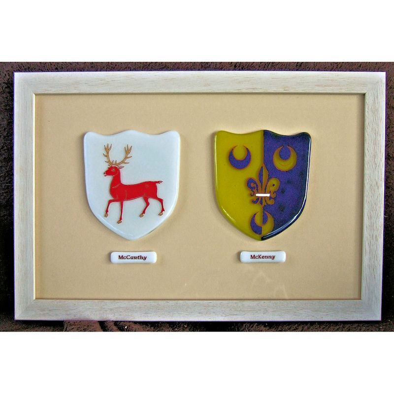 Bespoke fused-glass double (wedding) framed family crest - product image