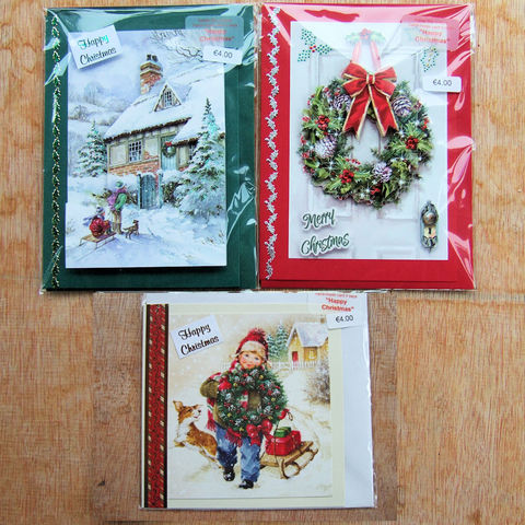 Handmade,'Traditional',Christmas,cards,-,pack,of,three,by,Chris's,Cards,inspired-glass, chris's cards, handmade cards, frog cards, greeting cards