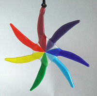 Chakra sun-star fused-glass suncatcher - product images  of