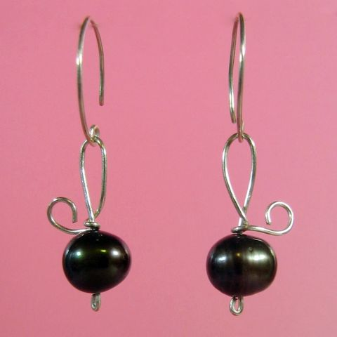 Bronze,Pearl,Earrings, Pearl, Sterling, Sterling Silver, Silver, Pierced, OOAK, Handcrafted, Handmade, wire
