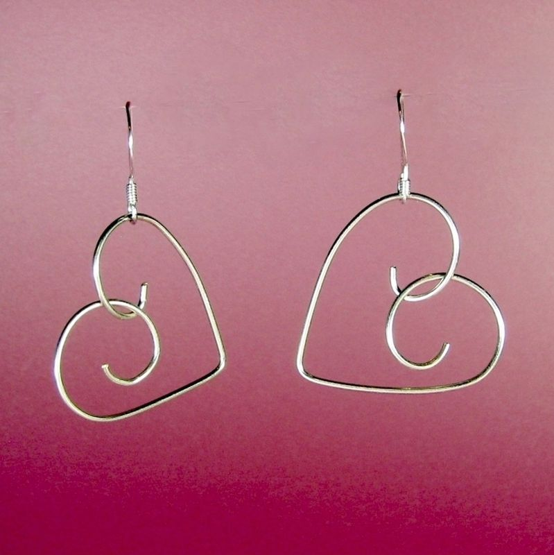 .925 Sterling Silver Handformed Wire Heart Earrings - product images  of