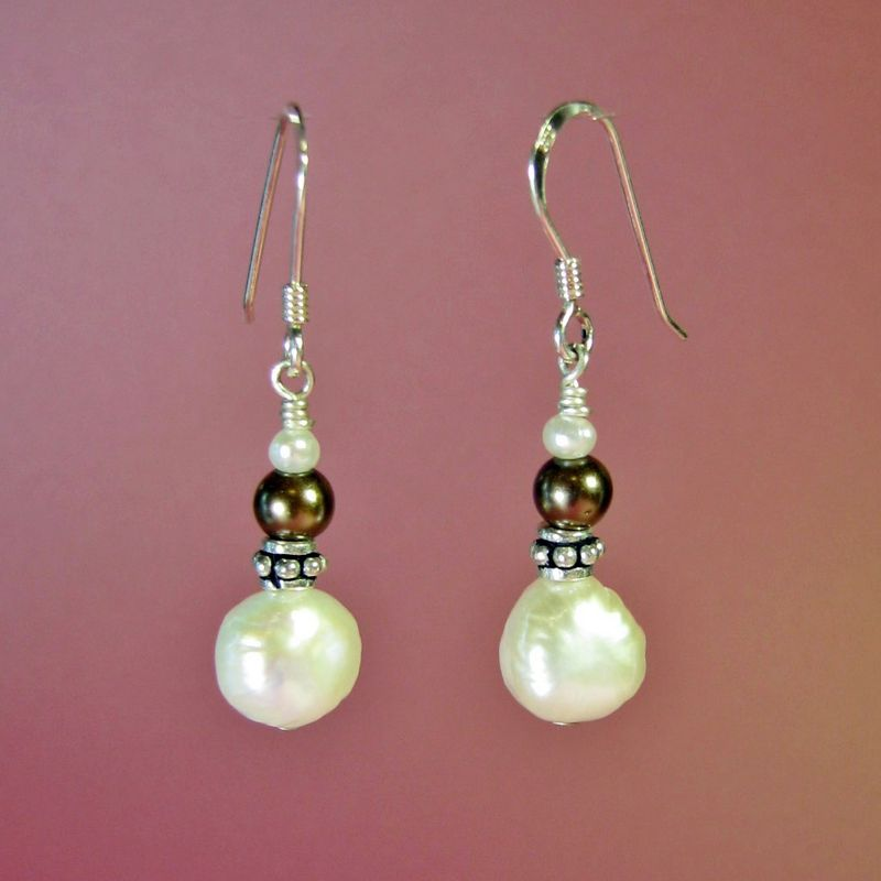 White & Brown Pearl Earrings - product images  of