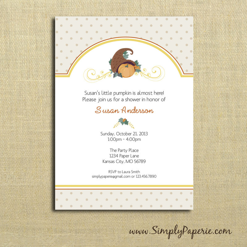 Fall Pumpkin Baby Shower Invitations - Simply Paperie
