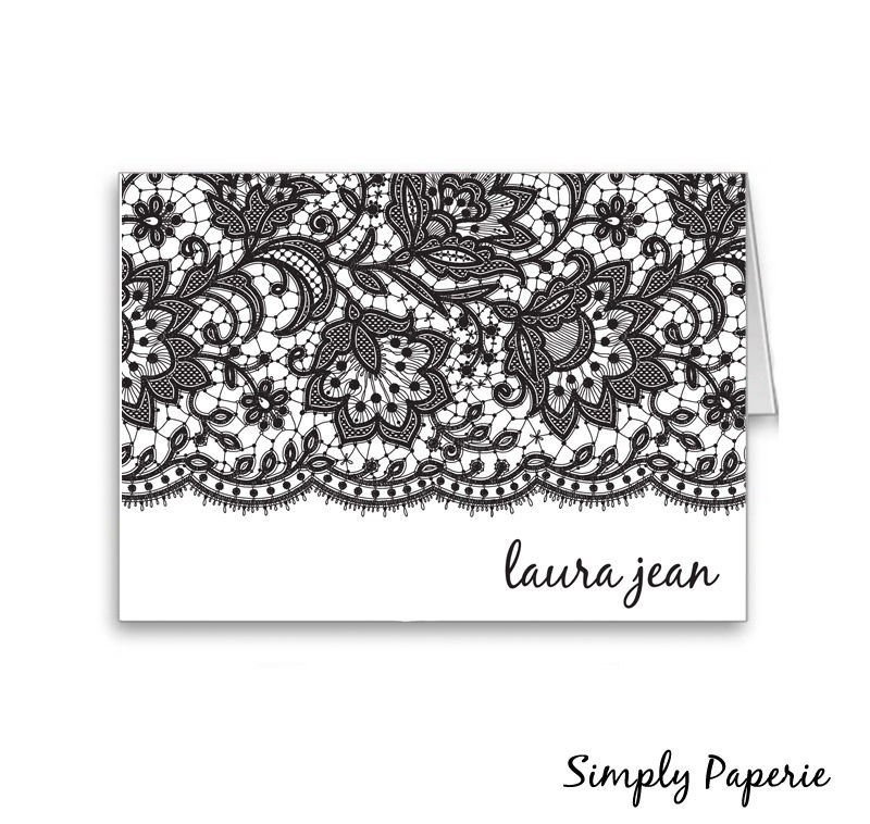 Black Lace Personalized Stationery - product images  of
