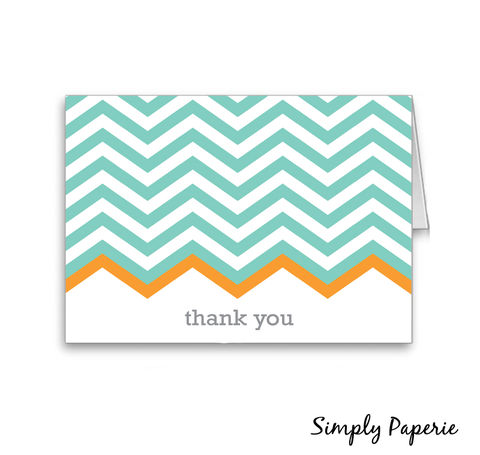 Teal,Chevron,Thank,You,Cards,Paper Goods, Cards, Thank You, bright, party, foldover, sea foam, tangerine, orange, chevron, zig zag, modern, geometric, grey, teal, casual, contemporary, The Artisan Group