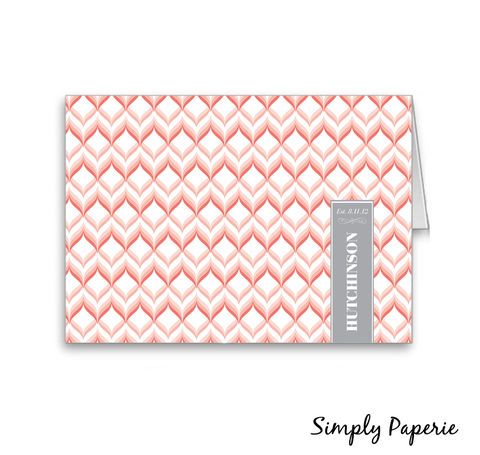 Sweet,Chevron,Established,Name,Cards,Paper Goods, Cards, modern, monogram, thank you, foldover notecard, wedding, pink, grey, thank you card, baby, custom