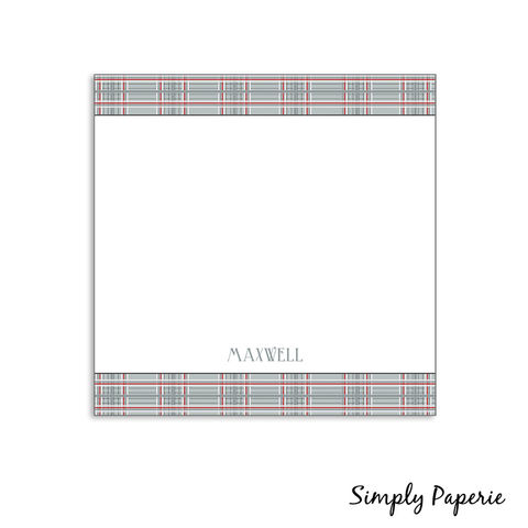 Winter,Plaid,Personalized,Notecards,plaid, winter, taupe, red, grey, neutral, masculine, lodge inspired, paper goods, personalized, The Artisan Group, stripe, notecard, flat card, 5x7, a7, square, a2, 5.25x5.25