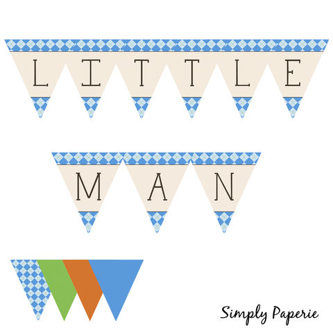 Little,Man,Party,Bunting,PRINTABLE,Shower, Birthday Party, Weddings, Invitation, bow tie, baby, baby shower, decoration, swag, bunting, triangle, sign, hanging, party, little man, boy, argyle, blue, orange, green, pattern, classy, modern, plaid