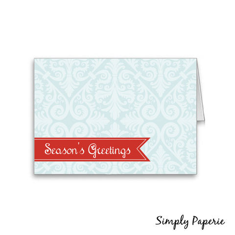 Season's,Greetings,Red,and,Teal,Holiday,Card,Holidays, Christmas, Card, bright, cheerful, red, aqua, light blue, blank, elegant, The Artisan Group, card, season, seasons greetings, teal, damask, christmas, holiday