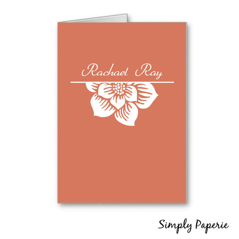 Tangerine,Flower,Personalized,Notecards,Rachael Ray, celebrity, gift, chef, Paper Goods, Cards, tangerine, orange, coral, flower, foldover card, greeting card, stationery, notecard, custom, monogram, personalized, note, name, initial, thank you card