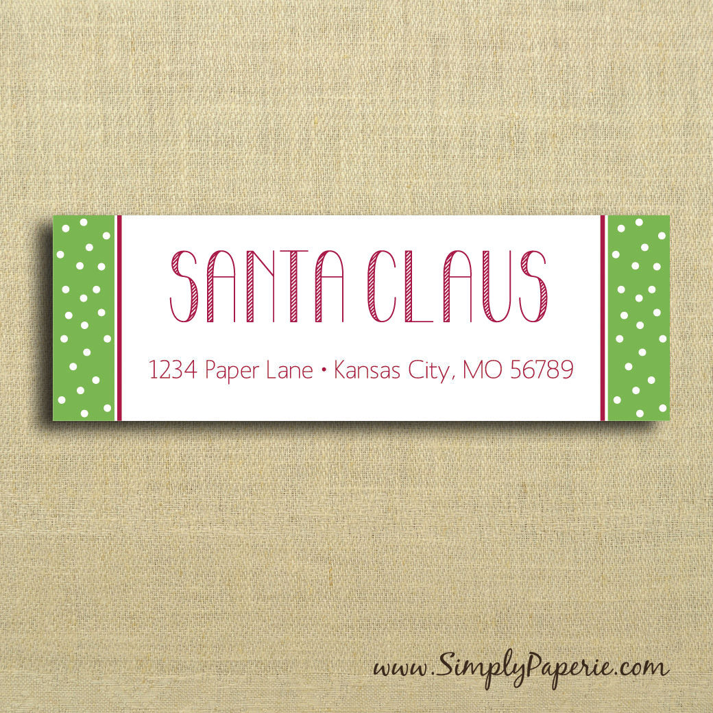 Holiday Polkadot Return Address Labels - Simply Paperie