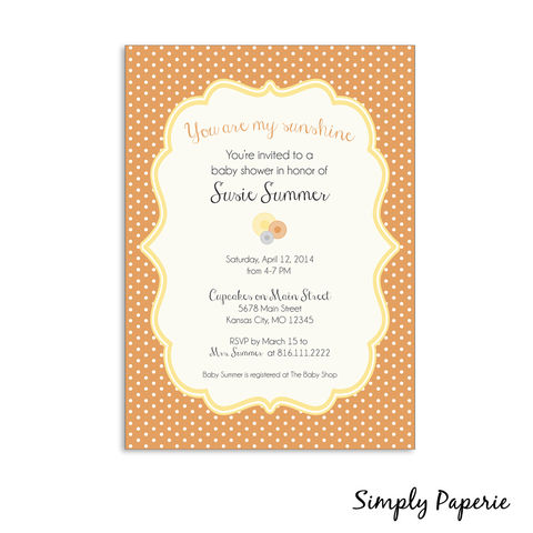 You,Are,My,Sunshine,Baby,Shower,Invitations,baby, shower, invitation, party, you are my sunshine, summer, spring, polka dot, bright, light, cheerful, orange, yellow, grey, 5 x 7, The Artisan Group