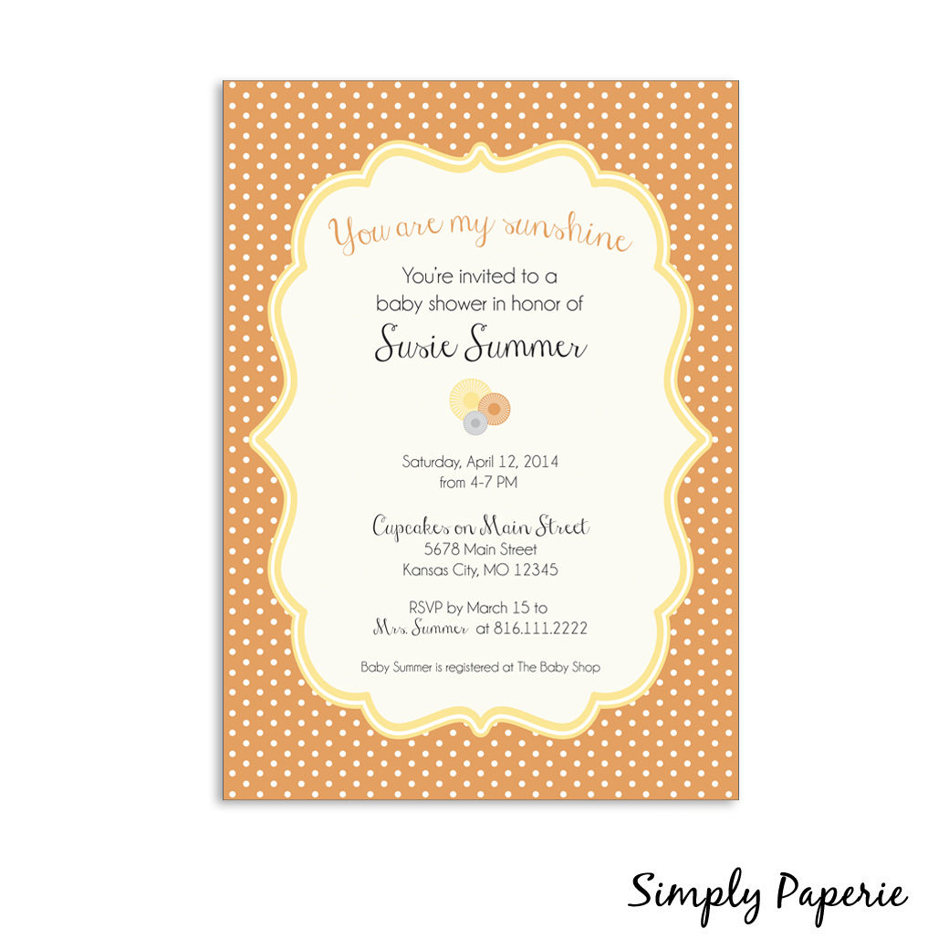 you are my sunshine baby shower invitations simply paperie