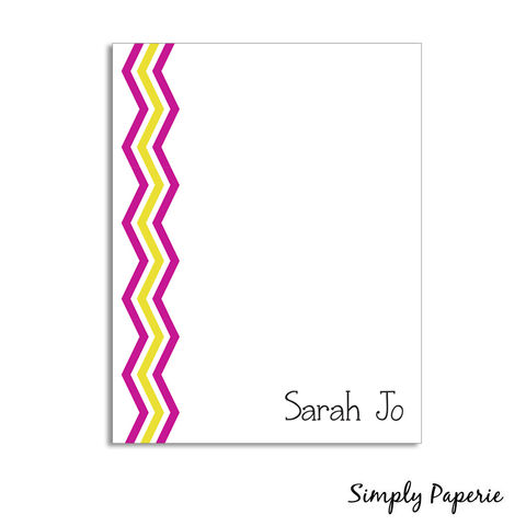Lemonade,Personalized,Chevron,Notecards,yellow, pink, lemonade, paper goods, personalized, chevron, pattern, print, fun, playful, kids, custom, zig zag, The Artisan Group, notecard, flat card, 5x7, a7