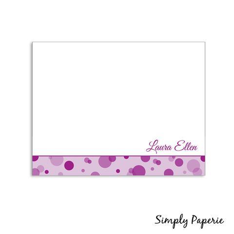 Personalized,Polka,Dot,Notecards,fucshia, radiant orchid, pink, purple, paper goods, personalized, polka dot, pattern, print, fun, playful, kids, custom, Mothers Day, celebrity moms, baby, The Artisan Group, notecard, flat card, 5x7, a7