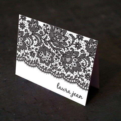 Black,Lace,Personalized,Stationery,-,Choose,Your,Paper,Color!, blank, elegant, a2, 4.25 x 5.5, The Artisan Group, card, foldover notecard, personalized, name, monogram, custom, lace, black, white, pearl paper, shimmer paper, Chartreuse, silver, gold, gravel, khaki, lake, lilac, light blue, pool