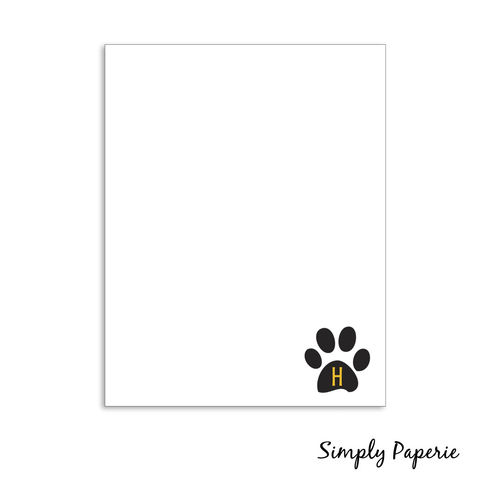 Tiger,Paw,Notecards,black, gold, yellow, tiger paw, paw print, stripe, paper goods, personalized, school mascot, University of Missouri, Mizzou, custom, The Artisan Group, notecard, flat card, 5x7, a7