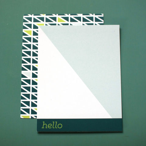 HELLO,Geometric,Notecards,celebrity gifting, teal, aqua, lime green, hello, geometric, triangle, light blue, baby blue, paper goods, 2014 Emmys, GBK Gifting Suite, custom, The Artisan Group, notecard, flat card, 5x7, a7