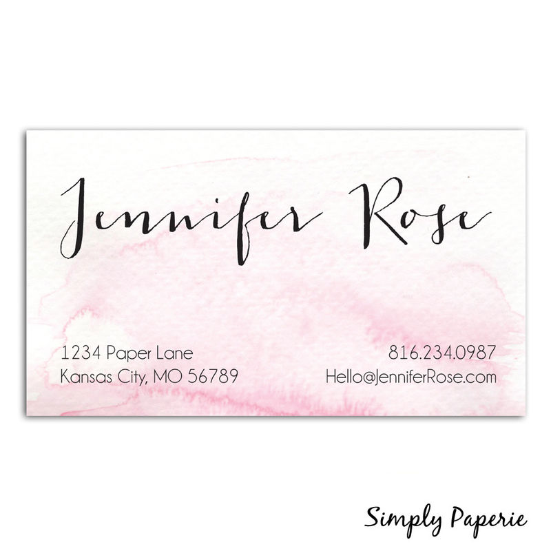 Pink Watercolor Business Cards - Simply Paperie