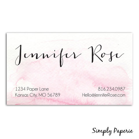 Pink,Watercolor,Business,Cards,Paper Goods, business card, calling card, watercolor, calligraphy, pink, small business owner, creative, mom, blogger, custom, personalized, name, The Artisan Group, painted