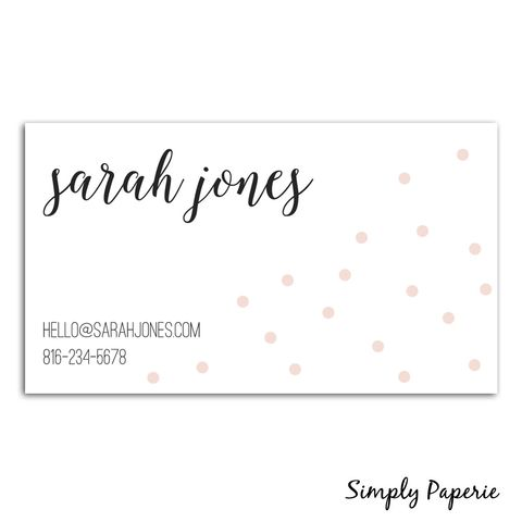 Pink,Dot,Calligraphy,Business,Cards,Paper Goods, business card, calling card, modern, calligraphy, Blush pink, light, ballerina, polka dot, hello, small business owner, black and white, creative, mom, blogger, custom, personalized, name, The Artisan Group, painted