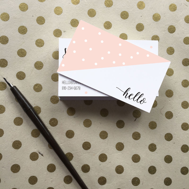 Pink Dot Calligraphy Business Cards - Simply Paperie