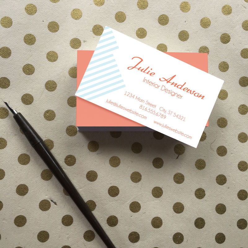 Flower and Stripes Business Cards - Simply Paperie