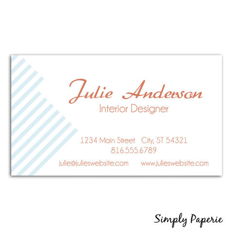 Flower,and,Stripes,Business,Cards,Paper Goods, business card, calling card, elegant, vintage, tangerine, orange, coral, light blue, custom, personalized, name, modern, The Artisan Group, diagonal line stripe
