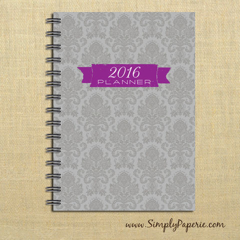 Grey,and,Purple,Damask,Weekly,Planner,Weekly Planner, Calendar, month, monthly, academic, year, school, planner, 2016, 2015, trendy, modern, distressed, grey, purple, damask, The Artisan Group, small, 5x7, a7