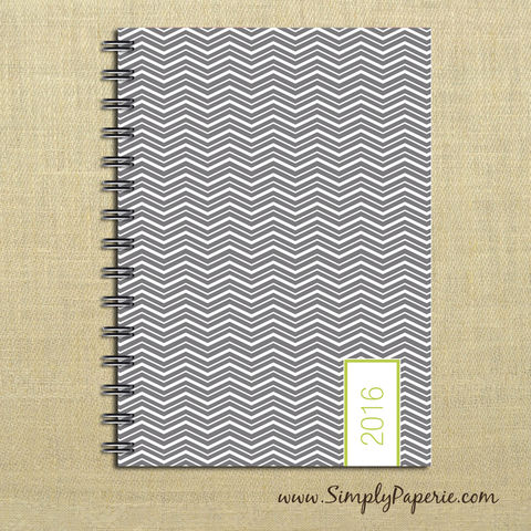 Grey/Green,Chevron,Weekly,Planner,Weekly Planner, Calendar, month, monthly, academic, year, school, planner, 2016, 2015, grey, chevron, trendy, lime green, bright green, slate, charcoal, modern, The Artisan Group, 2014